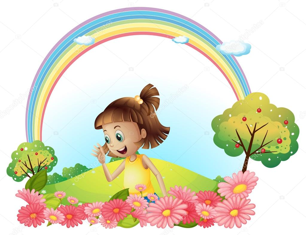 A Smiling Girl At The Garden With Pink Blooming Flowers Stock Vector 30987931