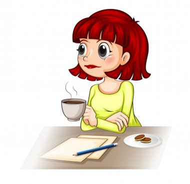 A businesswoman taking her cup of tea while making a report