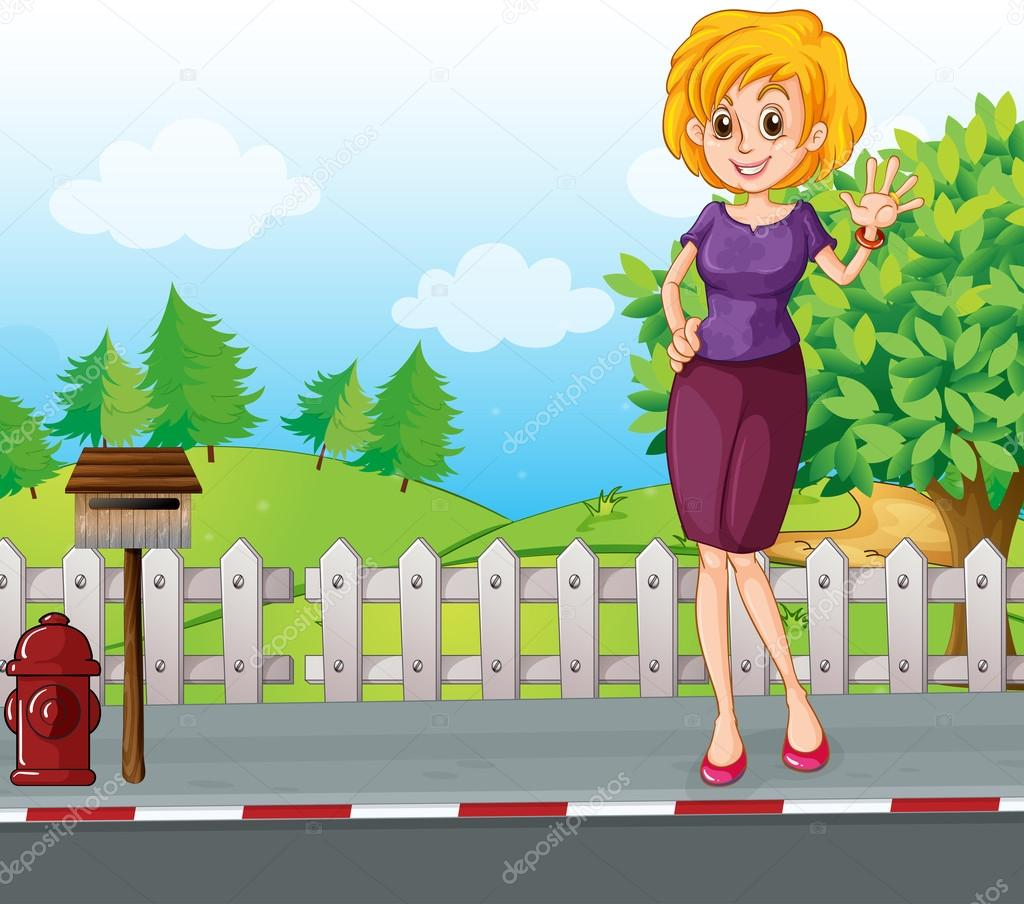 A woman at the street near the wooden mailbox