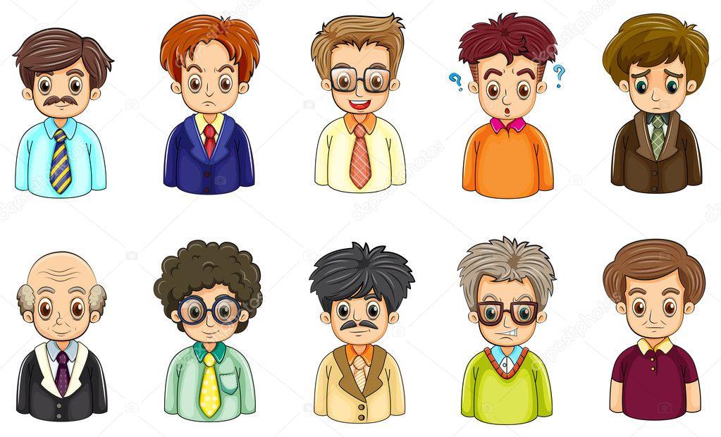 Rostros De Niños Animados: Rostros Abstractos De Hombres