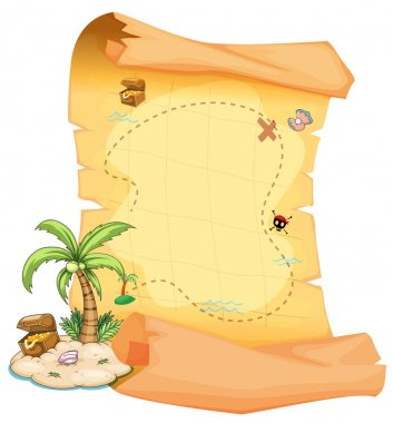 A big treasure map and an island