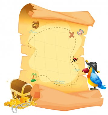 A treasure map with a parrot