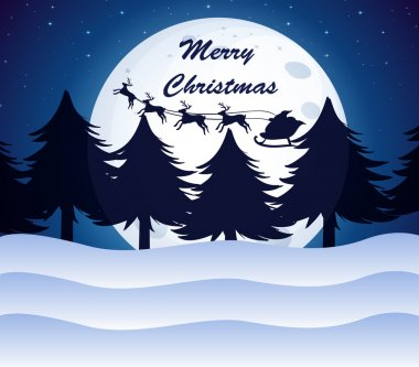 A christmas template with a moon, pine trees and reindeers on a