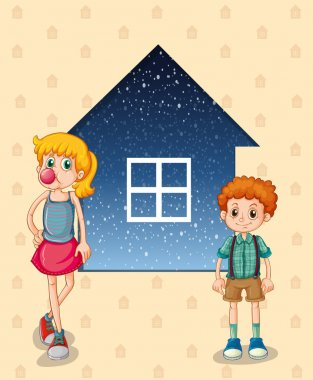 Two siblings in front of the house