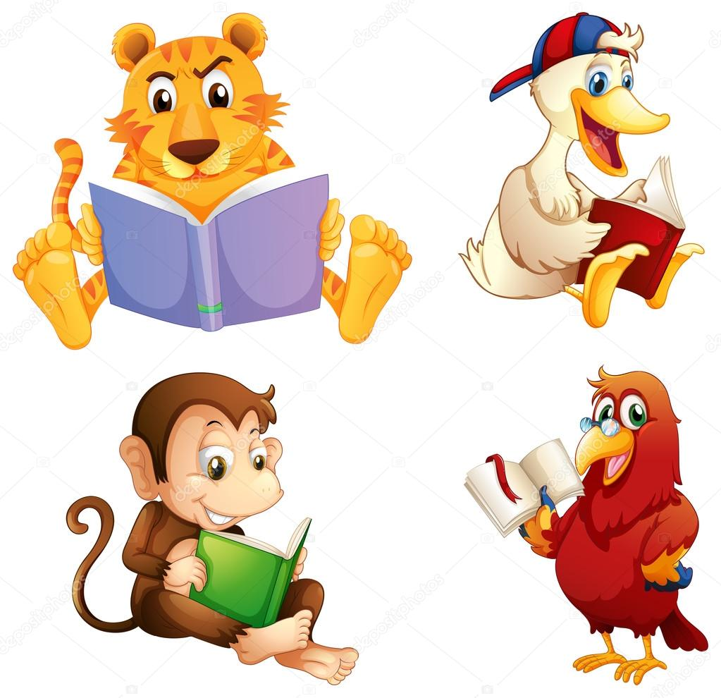 four animals reading stock vector interactimages 33102711