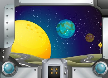 A metal frame with a view of the outerspace
