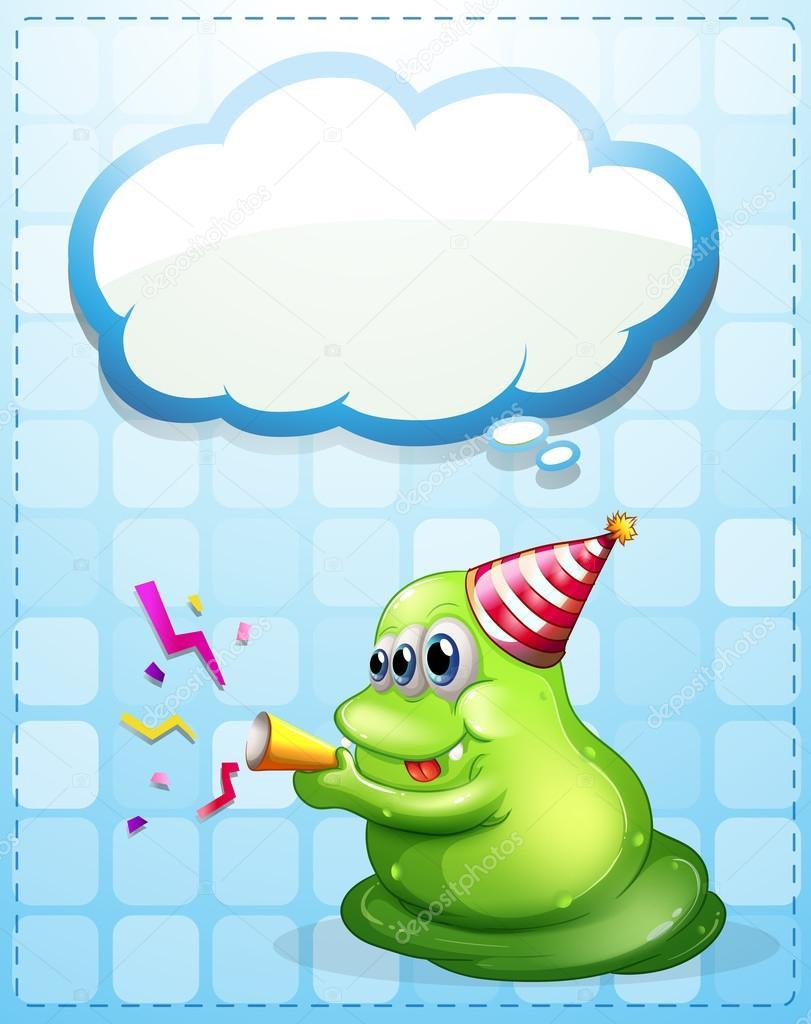 ein grünes Monster feiert mit einer Vorlage leere Wolke ...