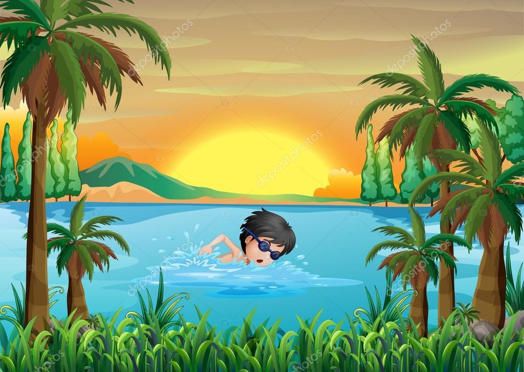 un ni u00f1o nadando en el lago  u2014 vector de stock