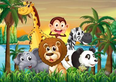 A group of animals at the riverbank with coconut trees