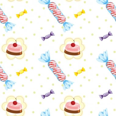 A seamless design with cupcakes and candies