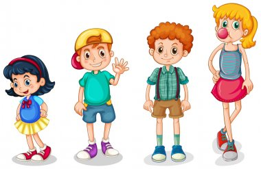 Illustration of the four kids on a white background clip art vector