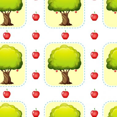 Seamless design with apples and trees