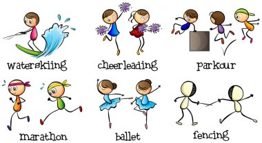 Illustration of the six different activities on a white background stock vector