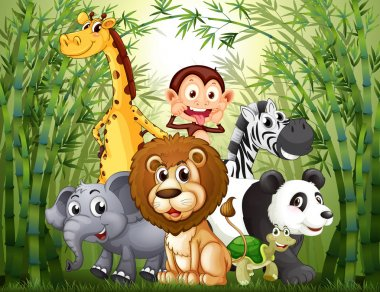 A bamboo forest with many animals