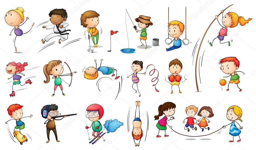Illustration of the kids engaging in different sports on a white background stock vector