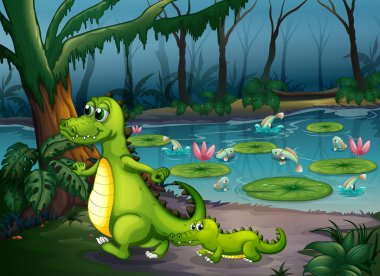 A forest with a pond, crocodiles and fishes