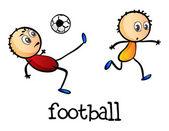 Strichmännchen spielen Fußball