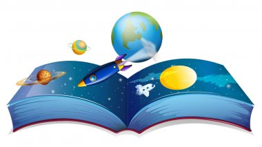 A book showing the earth and other planets