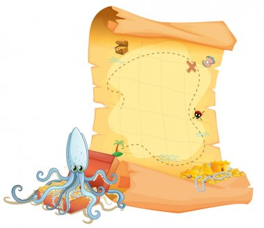 A treasure map and an octopus above the treasure box