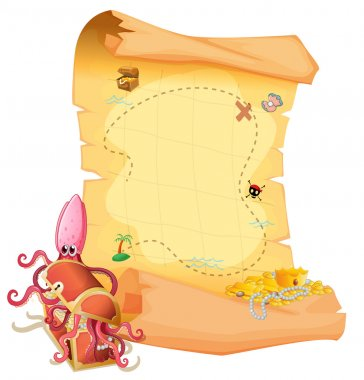 A treasure map and an octopus inside the treasure box