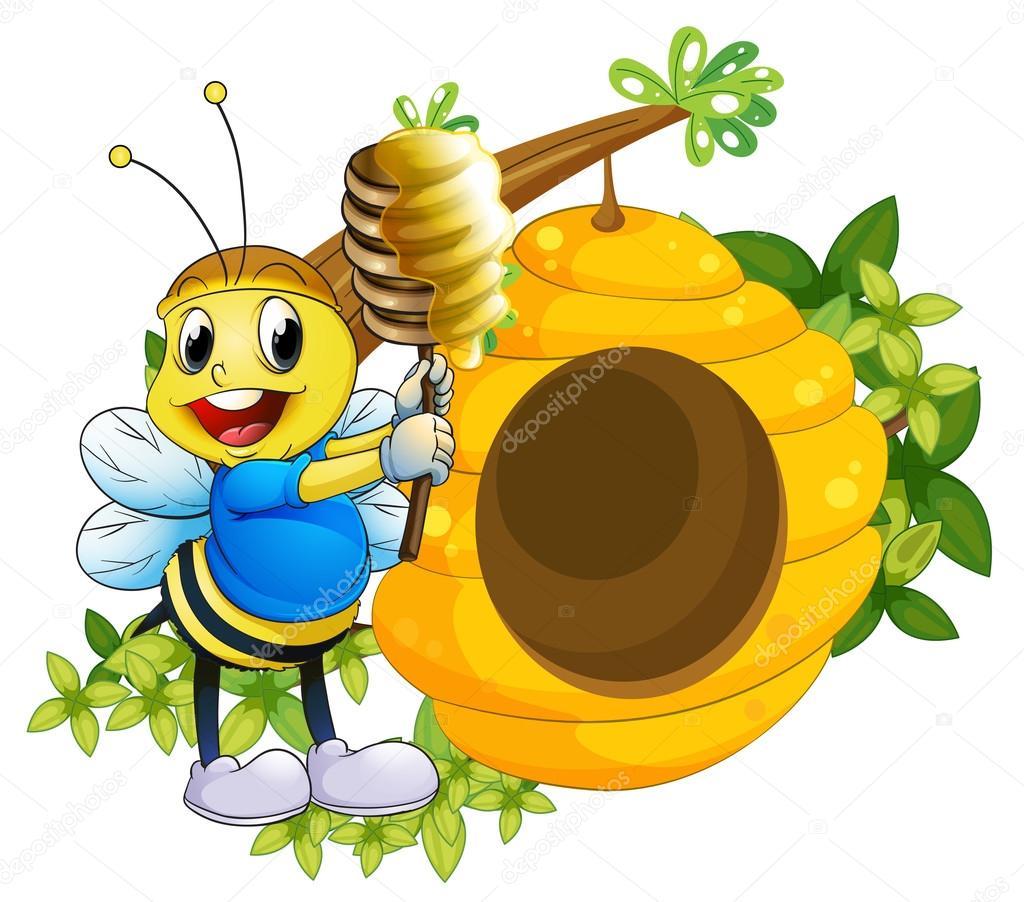 una abeja feliz jugando con la miel cerca de la colmena — Archivo ...