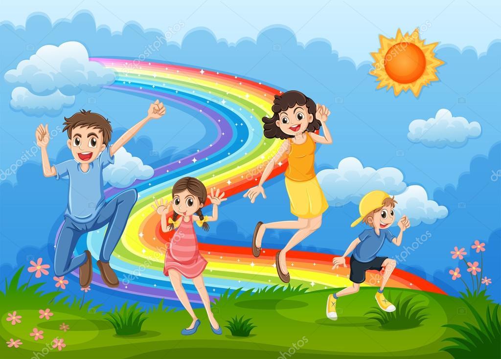 Картинки, картинка семейной жизни с радугой