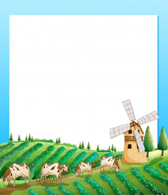An empty template with a farm and cows at the bottom