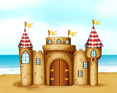 Illustration of a castle at the beach clip art vector