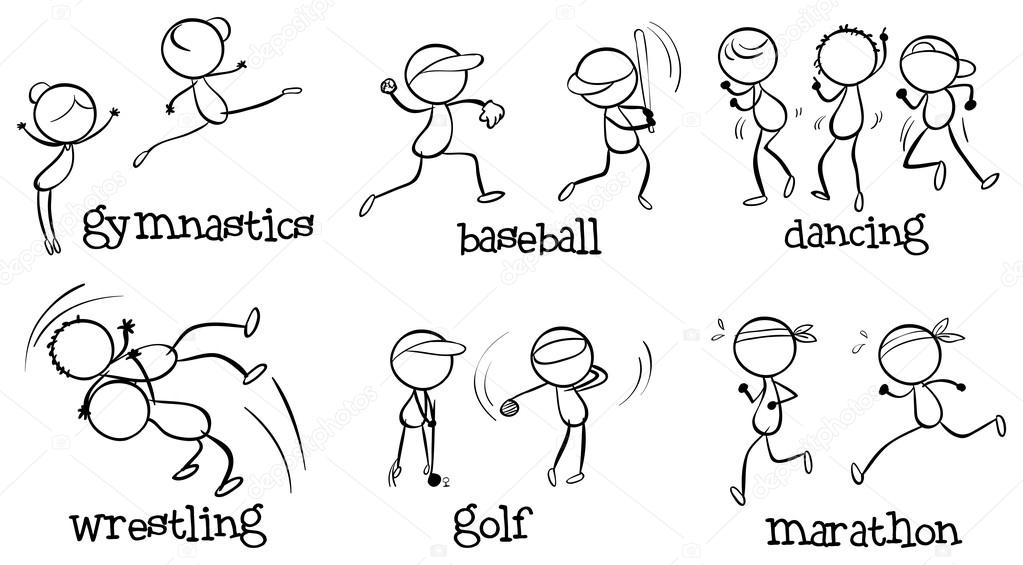 Illustration of the different indoor and outdoor activities on a white background stock vector
