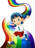 A boy and a rainbow