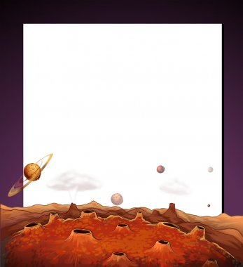 A paper template with a view of the outerspace at the bottom