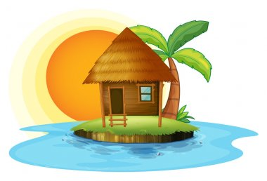 An island with a small hut