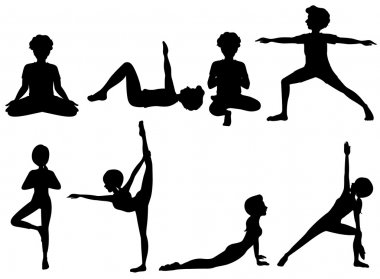 Silhouette of people exercising