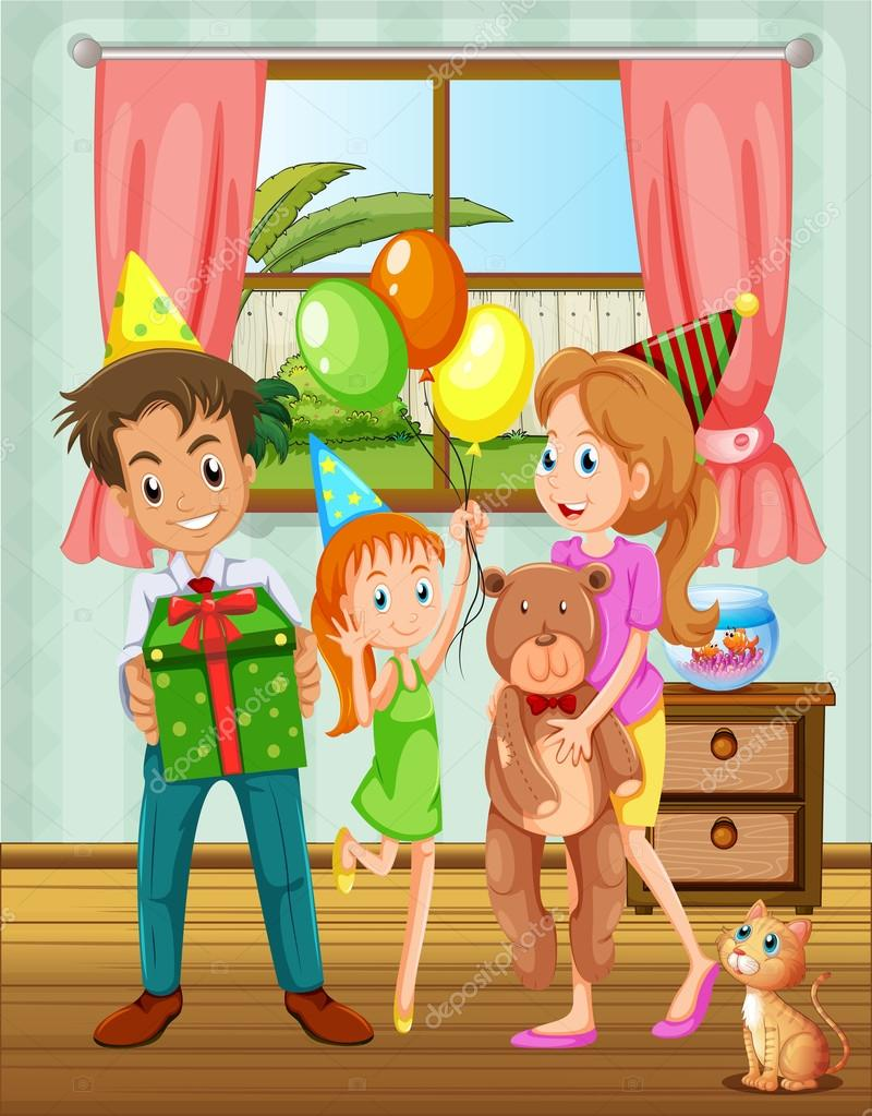 A family inside the house near the window — Stock Vector ... for Inside Window Clipart  45hul