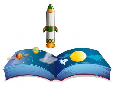 A book with planets and a rocket