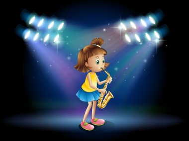 A young lady at the stage playing with her saxophone