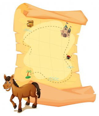 A horse in front of the treasure map
