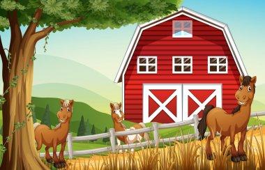 Horses at the farm near the red barnhouse