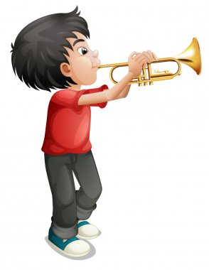 A boy playing with his trombone