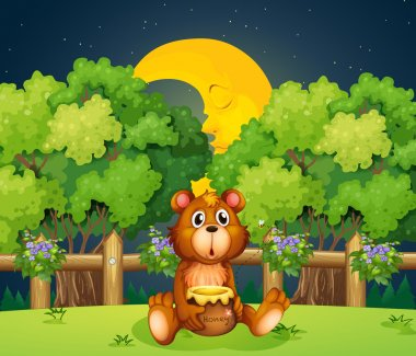 A bear at the woods in the middle of the night
