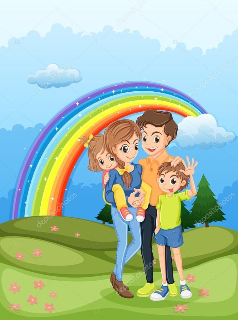 Днем, картинка семейной жизни с радугой