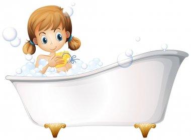 A girl on the bathtub