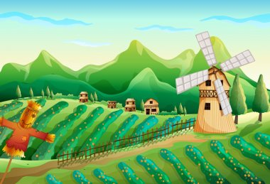A farm with wooden houses and a scarecrow