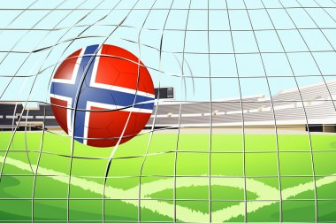 A ball hitting a goal with the flag of Norway