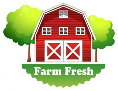 A barnhouse with a farm fresh label
