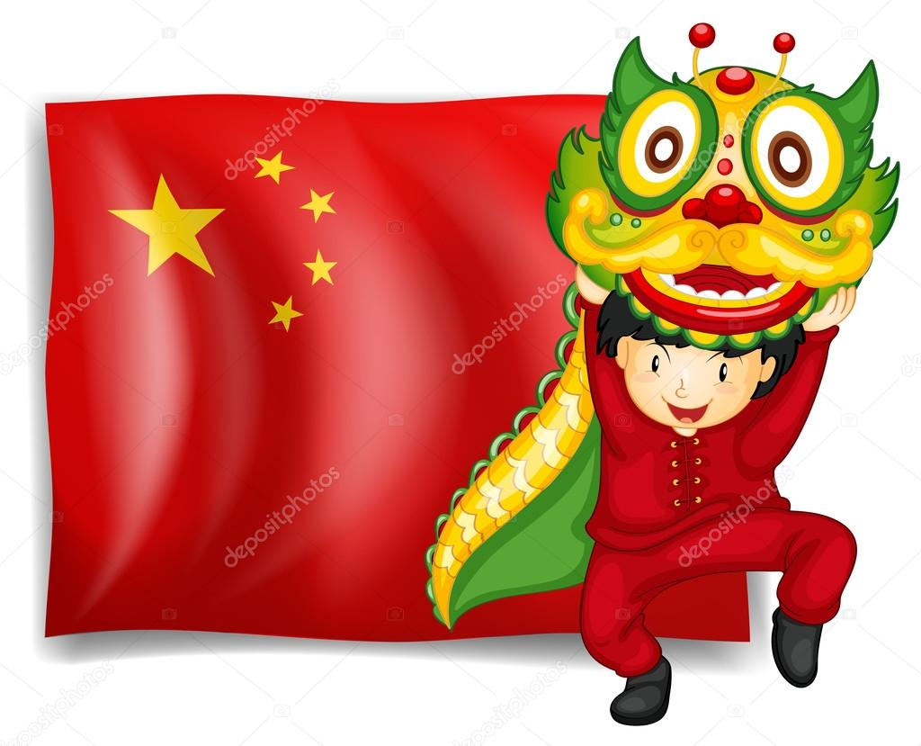 a boy doing the dragon dance in front of the flag of china u2014 stock