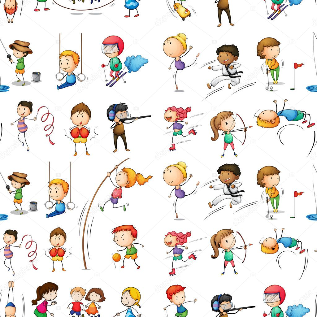 Illustration of the seamless design of people doing their indoor and outdoor activities on a white background stock vector