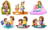 Fényképek különböző tevékenységek egy anya és egy gyermek