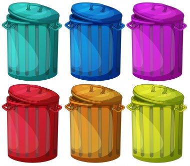 Six colorful bins