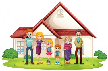 A family in front of their big house